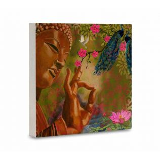India Circus Garden Of Peace Canvas Mounted Wall Art