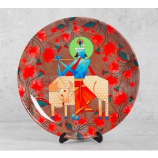 India Circus Geometrical Krishna 10 inch Decorative and Snacks Platter