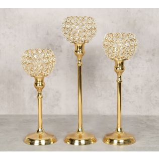 India Circus Golden Crystal Candle Holder Set of 3