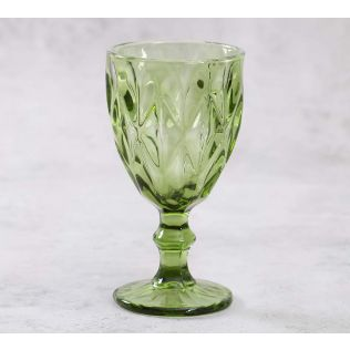 India Circus Green Orchid Wine Glass