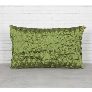 India Circus Green Pucker Rectangle Satin Blend Cushion Cover