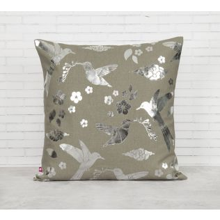 India Circus Grey Flock of Birds Foil Cushion Cover