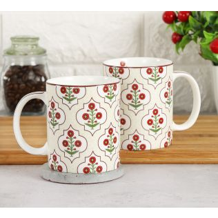 India Circus Grey Poppy Flower Coffee Mug
