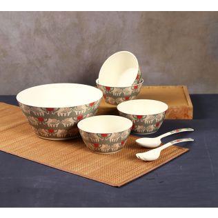 India Circus Heart Tusker Bamboo Salad Bowl Set