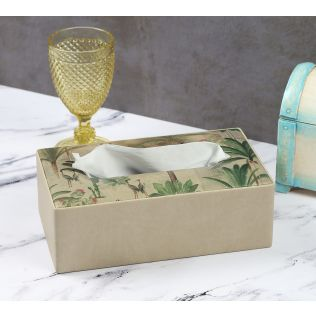 India Circus Heron's Garden Leather Tissue Box Holder