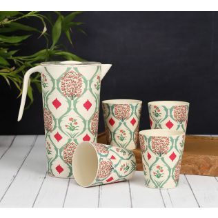 India Circus Lattice Blooms Bamboo Jug Set