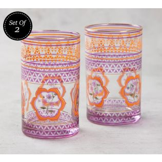 India Circus Lattice Lotus Small Glass Tumbler (Set of 2)