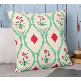 India Circus Lattice Roses Cotton Cushion Cover