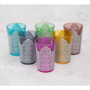 India Circus Laudable Lattice Moroccan Glasses Set of 6