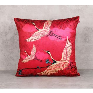 India Circus Legend Of The Cranes Blend Velvet 16 x 16 Cushion Cover
