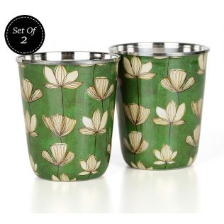 India Circus Lotus Pond Small Steel Tumbler Set of 2