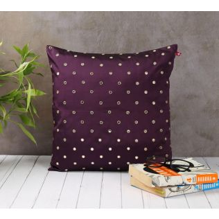 India Circus Mirror Work Purple Cushion Cover