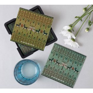 India Circus Mirroring Deer Garden MDF Table Coaster Set of 6
