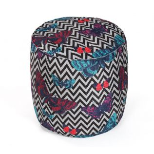 India Circus Monarch on Chevron Pouffe