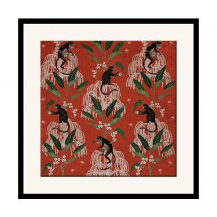India Circus Monkey Games 16 x 16 and 24 x 24 Framed Wall Art
