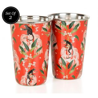 India Circus Monkey Games Steel Tumbler Set of 2