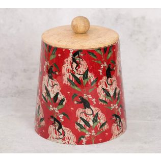 India Circus Monkey Games Wooden Jar