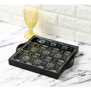 India Circus Monochrome Lotus Reiteration Leather Tray