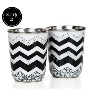 India Circus Monochrome Moonshine Steel Tumblers Set of 2