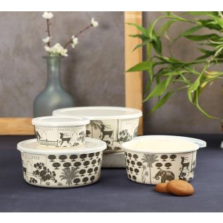 India Circus Monochrome Palatial Courtyard Bamboo Container Set