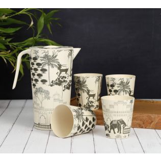 India Circus Monochrome Palatial Courtyard Bamboo Jug Set
