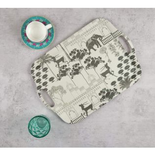 India Circus Monochrome Palatial Courtyard Bamboo Serving Tray