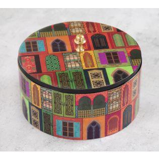 India Circus Mughal Doors Reiteration Round Storage Box