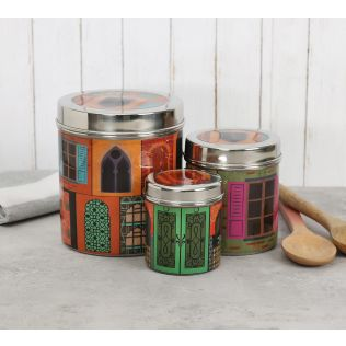 India Circus Mughal Doors Reiteration Steel Container (Set of 3)