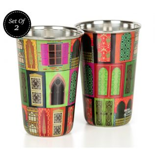 India Circus Mughal Doors Reiteration Steel Tumbler Set of 2