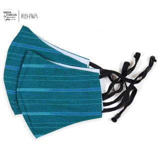 India Circus Navy Blue Asymmetrical Zari Stripe Cotton Mask