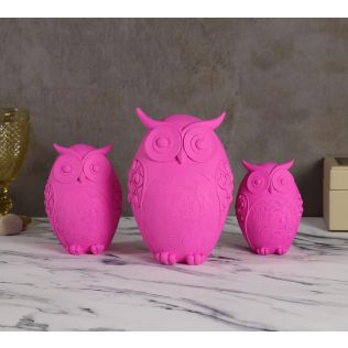 India Circus Neon Pink Owl Figurine Set of 3