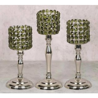 India Circus Olive Crystal Candle Holder Cylindrical Set of 3