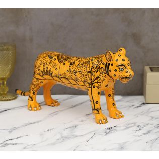 India Circus Pattachitra Art Orange Tiger