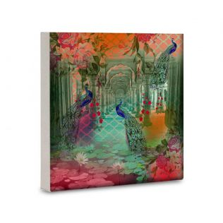 India Circus Peacock Dwar 16x16 and 24x24 Canvas Wall Art