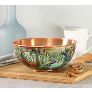 India Circus Peacock Dwar Copper Bowl