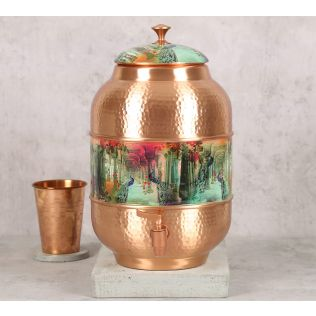 India Circus Peacock Dwar Copper Water Dispenser