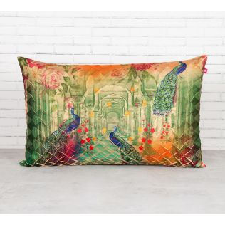 India Circus Peacock Dwar Decorative Scale Cushion Cover