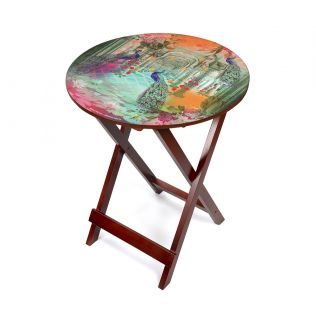 India Circus Peacock Dwar Round Side Table