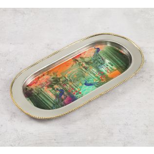India Circus Peacock Dwar Steel Serving Tray