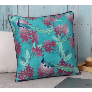 India Circus Peacock Games Polyester Cushion Cover