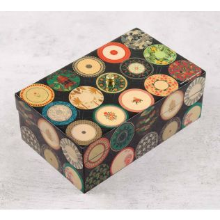 India Circus Platter Portrayal Enameled Storage Box