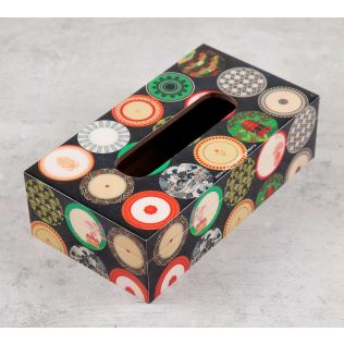 India Circus Platter Portrayal Tissue Box Holder