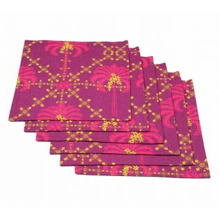 India Circus Poly Palmeria Cocktail Napkins Set of 6
