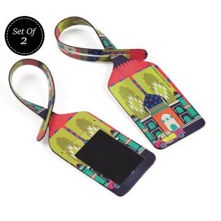 India Circus Pop Taj Taxi Travel Tag Set of 2