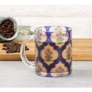 India Circus Poppy Flower Glass Mug