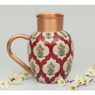 India Circus Poppy Flower Scarlet Copper Jug