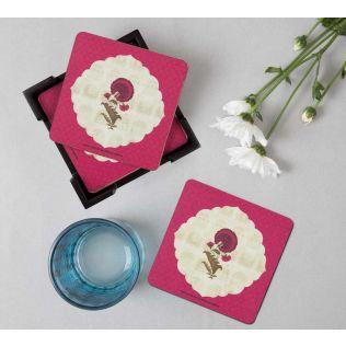 India Circus Poppy Surprise  Table Coaster Set of 6