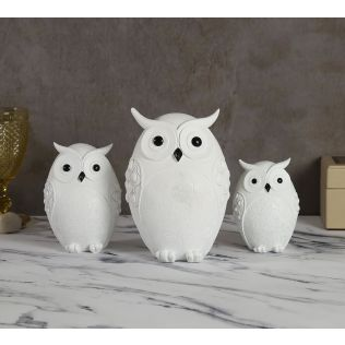 India Circus Pristine White Owl Figurine Set of 3