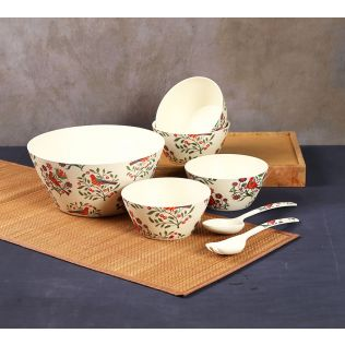 India Circus Psittacines Enquiry Bamboo Salad Bowl Set