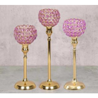 India Circus Purple Crystal Candle Holder Set of 3